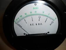 """981 AC & DC OHMS METER 4 1/2"""" ROUND  NEW OLD STOCK"""