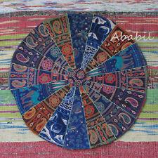 "24"" Indian Mandala Handmade Patchwork Large Cushion Round Floor Pillow Cover Art"