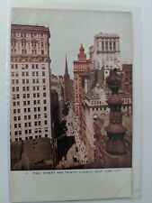 POSTCARD Wall Street and Trinity Church New York City NY   O-1