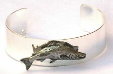 Salmon Bracelet Bangle Silver Plate and Pewter Fishing Gift Boxed NEW