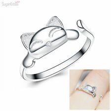 925 Sterling Silver Lovely Fortune Cat Kitten Tail Maneki Neko Ring M Sizable