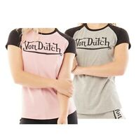 Ladies Von Dutch Straight Stylish Short Sleeve Jersey T Shirt Sizes from 8 to 16