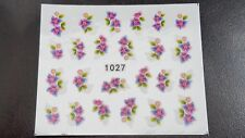 Nail Art Water Transfer Decal Stickers Pink Blue Flowers 1027