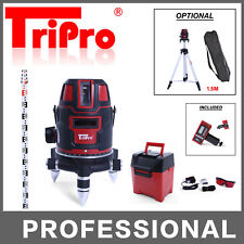 SELF LEVELING 4V1H DOT CROSS ROTARY MULTI LASER LEVEL WITH TRIPOD RECEIVER STAFF