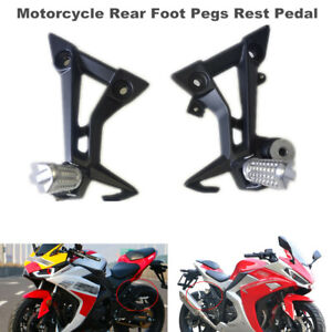 Left + Right Motorcycle Bikes Rear Foot Pegs Rest Pedal Pads Bracket Footrest