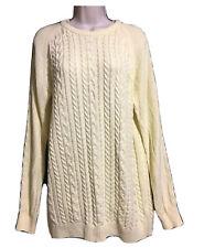 COTTON TRADERS Men's L Women's 16 Cable Knit Cotton Jumper Pale Lemony Yellow