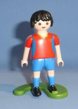 Playmobil Football Player Footballer & Stand sport figure kick action Red & Blue
