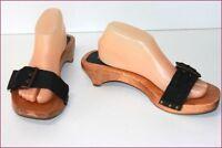 LA SCARPA Mules Claquettes Sandales Bois et Textile T 41 TBE