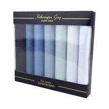 7 Pack Mens/Gentlemens Blue Dyed Handkerchiefs With Satin Stripe Borders