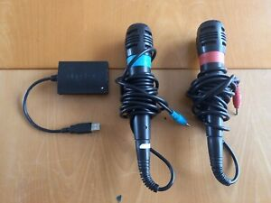 2x Singstar Microphones Red Blue For PS2 PS3 PlayStation With USB Connector