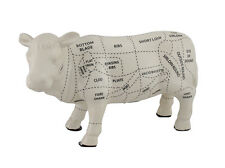 White Ceramic Cow Shaped Coin Bank w/Butcher Chart Piggy Bank 4 in.