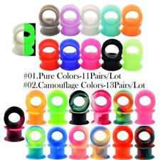 2× Thick Silicone Ear Gauges Double Flare Tunnels Plugs Earskin Piercing 2g-1''