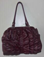 BIG BUDDHA ruffled faux leather vegan maroon hobo shoulder bag EUC