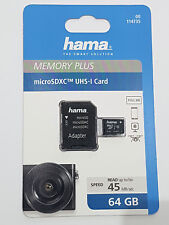 HAMA MICRO SDHC 64GB Class 10 UHS-I 45MB/s + ADAPTER/PHOTO/MOBILE/ TABLET 114735