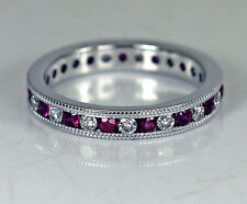 14K White Gold Diamond Ruby Eternity Ring Band Classy!