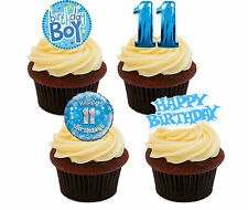 11th Birthday Boy, Blue Edible Cupcake Toppers, Stand-up Fairy Bun Decorations