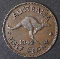 Australia 1942m RARE Key Date Half Penny KGVI (HM190C)