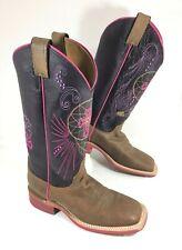 NEW Women's Justin Western Boots Brown Purple Bent Rail Cross Feather Sz 7 B