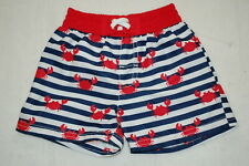 Baby Boys Swim Trunks Navy Blue White Stripe w/ Red Crabs & Trim Sea Life 3-6 Mo