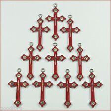 Wholesale Rhinestone 10pcs Red Cross Metal Charm Girls Pendant Jewelry Making