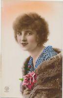 Antique Lady & Flowers RPPC Photo Postcard Hand Colored Fashion Art Deco Era