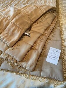 "LAURA ASHLEY BEIGE BEADED EDGE QUILTED BED COVER  78"" X 78"" + CUSHION"