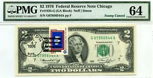 $2 DOLLARS 1976 STAMP CANCEL STATE FLAG FROM WYOMING LUCKY MONEY VALUE $3000
