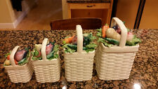 Fitz & Floyd Spring Easter Canister Set of 4 Basket Weave Farm House Kitchen