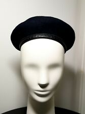 Vintage Black Beret : Men Women : 100% Wool : Leather Trim : Nice