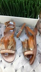 Ladies TOPSHOP Tan Leather Strappy Feather Sandals Flats SIze UK 4 Euro 37