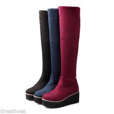 Womens Wedge Flat Platform Shoes Stretch Suede Fabric Knee High Boots AU Sz O352