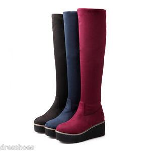 Women's Wedge Heel Platform Shoes Stretch Suede Fabric Knee High Boots US Sz