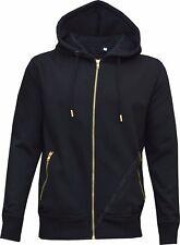 Mens Plain Slim Fit Tracksuit Set Fleece Hoodie Top Bottoms Jogging Joggers Gym Black S