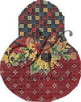 Needlepoint Handpainted KELLY Clark Autumn Folk Art Pear w/Stitch Guide