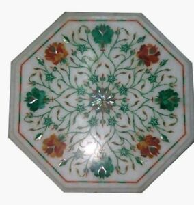 12'' Marble Inlay Coffee Table Top Handmade Stone Floral Art Home Decor Gift