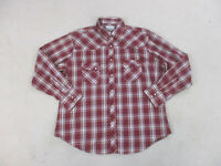 Wrangler Button Up Shirt Adult Extra Large Red Pearl Snap Western Cowboy Men A40