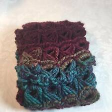 Handmade Crocheted Berry Theme Peacock Scarf  100% Acrylic Yarn Broomstick lace