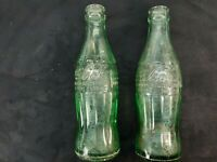 2 - Vintage Coca Cola -  6 oz Ounces Soda Bottle - Green - Embossed Newport News