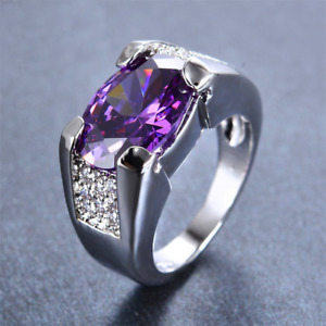 3Ct Oval Cut Purple Amethyst Solitaire Engagement Ring 14k White Gold Finish