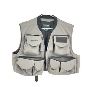 Simms Fly Fishing Vest Beige Freestone Multi Pockets Comfort Mesh Size XL
