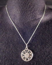 Vintage Avon Signed Round Clear Rhinestone Open Work Star Pendant Chain Necklace