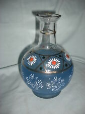 """Vintage Art Glass 7"""" Hand Painted  Decanter with Daisies"""