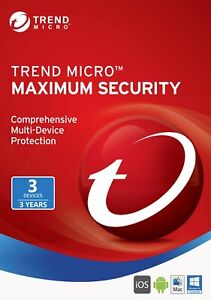 Trend Micro Maximum Security 2021 3 Users for 3  years Windows | MAC | Android