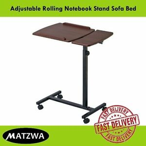Folding Laptop Table Rolling Notebook Stand Sofa Bed Adjustable Workstation Desk