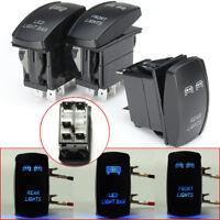 3Pcs Universal 5-Pins Blue Front Rear LED Light Laser Rocker Backlit Switch