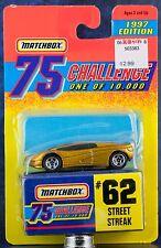Matchbox MB 62 Street Streak Gold 75 Challenge 1997 Edition New On Card