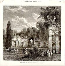 Stampa antica ISOLA BELLA Rotonda Ercole Giardini Lago Maggiore 1876 Old print