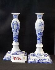 "SPODE BLUE ITALIAN CANDLESTICK CANDLE HOLDER MATCHING PAIR 12 3/4"" ENGLAND *NEW*"