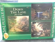 3 Bits and Pieces Puzzle Set - DOWN THE LANE by John Zaccheo ~ BEAUTIFUL!!