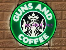 """New Guns And Coffee Starbucks Cafe Led 3D Neon Sign 14"""" Open Bar Lamp Decor"""